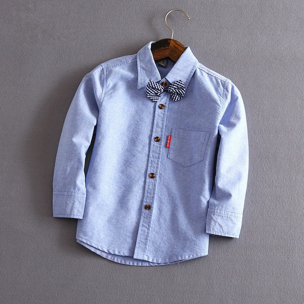 Boys Cotton Solid Leisure Shirts