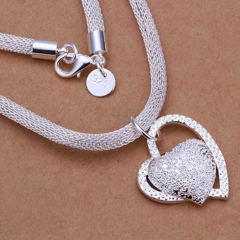 925 Sterling Silver plated Inlaid Stone Heart Collar Bone Necklace