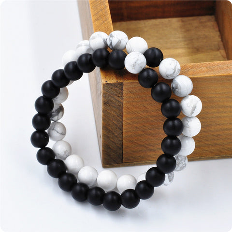 Black and White Couple Charms Yoga Meditation Bracelet