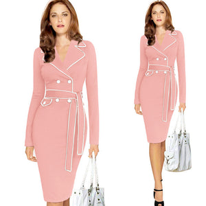 Elegant Lapel Notched Collar Belted Button Fitted Bodycon Dress