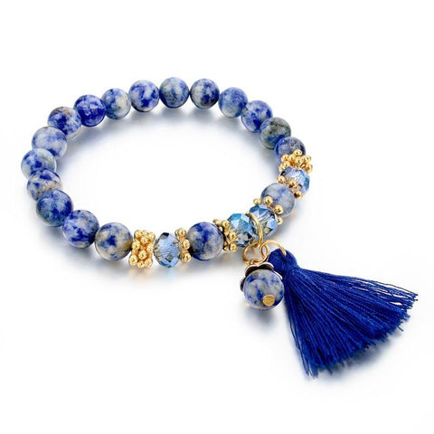 Unisex Fashion Blue Stone Bead Bracelet