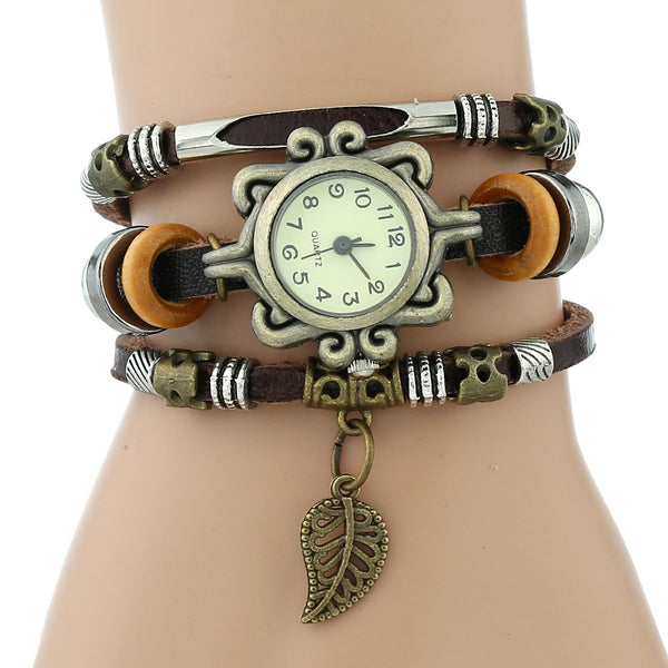 Charm Leaf Genuine Ethnic Leather Bracelet Watch