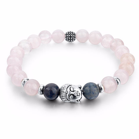 Women Pink Natural Stone Beads Buddha Bracelets