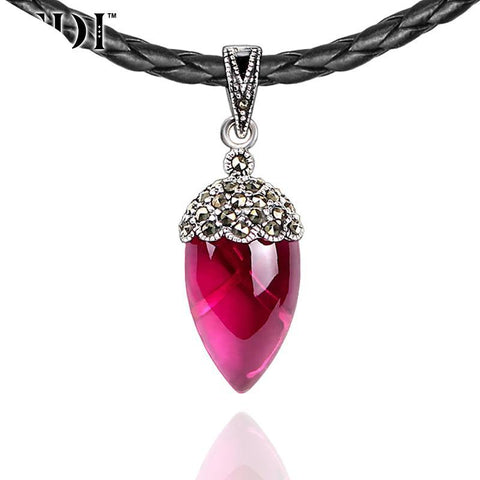 925 Sterling Silver Pink Natural Ruby Black Choker Necklace