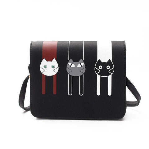Printed Cartoon Cats PU Leather Hasp  Bags
