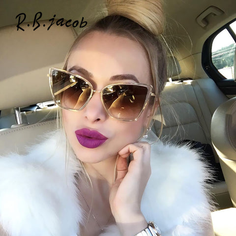 Oversized Sunglasses Women Fashion Cat Eye Sunglasses - Trendy Fashionista Inn