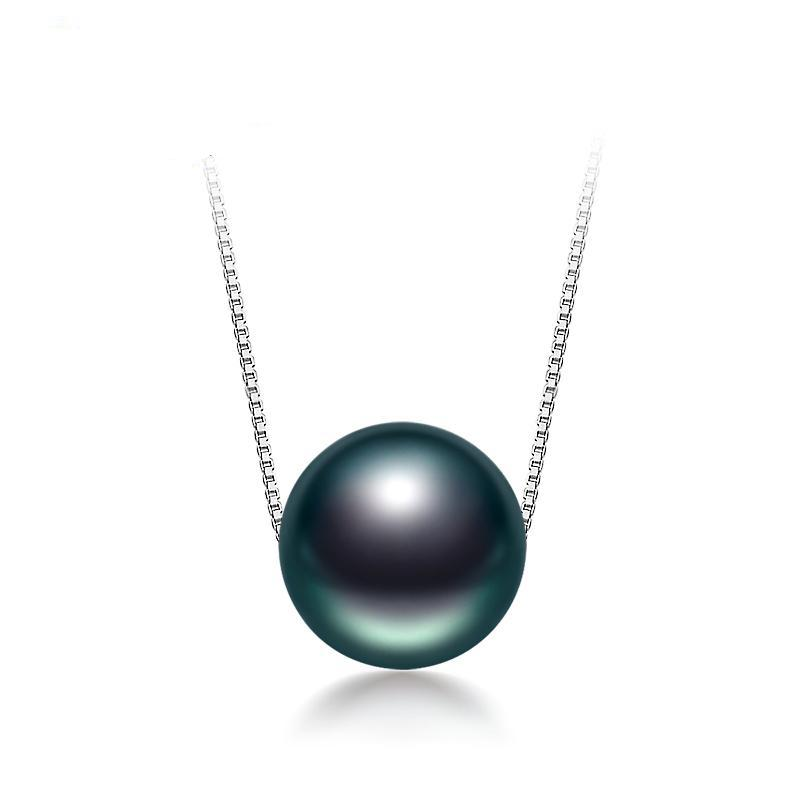 Black Tahitian Pearl on 925 Sterling Silver Necklace - Trendy Fashionista Inn