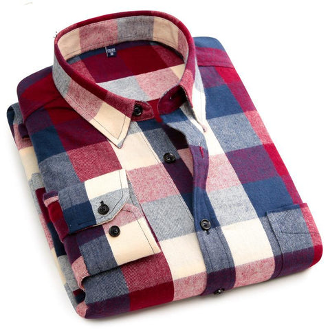 100% Cotton Long Sleeve Flannel Plaid Shirt - Trendy Fashionista Inn