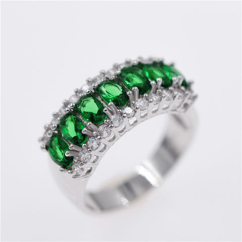 Silver with Green Stones Crystal Classic Ring - Trendy Fashionista Inn