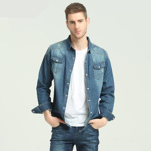 Denim Slim Classic Style Long-sleeve Shirt