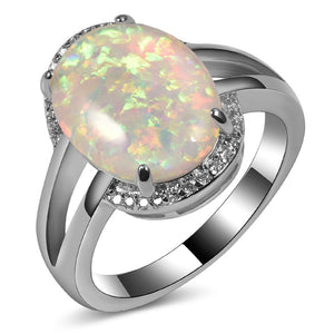 925 Sterling Silver Exquisite White Fire Opal Ring - Trendy Fashionista Inn
