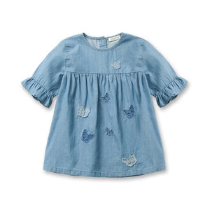 Blue Jeans Half Sleeves Casual Kids Dress 1 - 6 Years