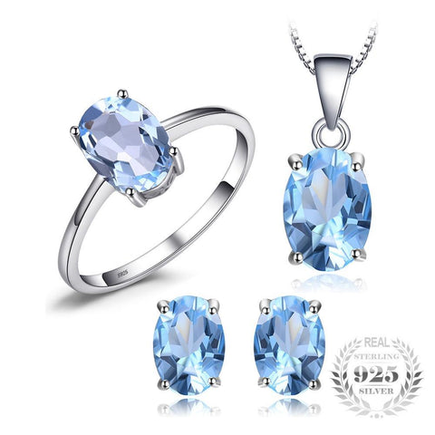 Oval 5.8ct Natrual Blue Topaz Ring Stud Earrings Pendant Necklace