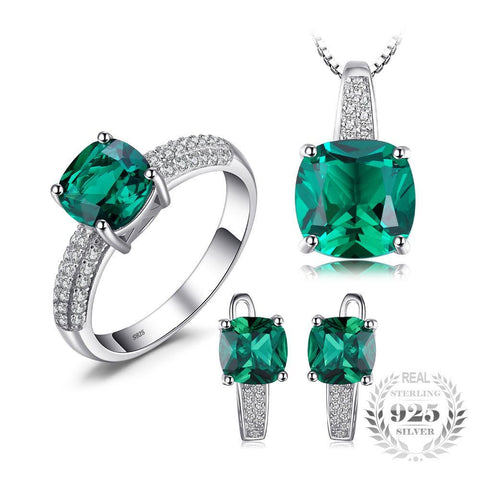 8.7ct Emerald Ring Pendant Clip Earrings Jewelry Set