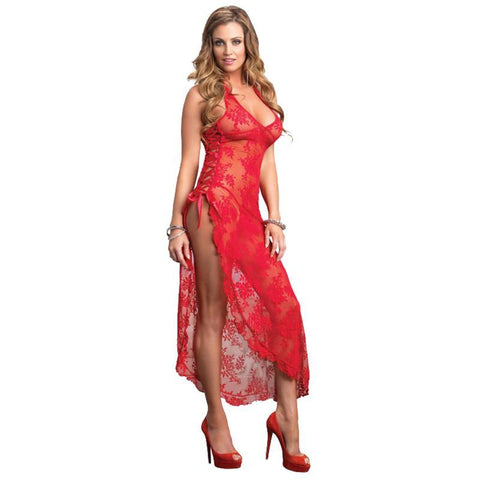 Plus Size Sexy Erotic Perspective Lace Hater Sleep Long Split Nightgown +T-thongs