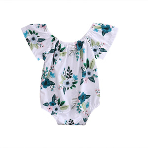 Adorable Flower Ruffled Sleeve Jumpsuit  0 - 2 Years