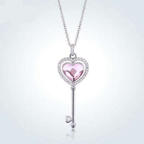 Classic Crystal Love Hearts Key Pendant Necklace