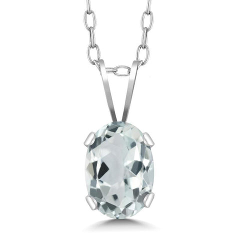 Solid 925 Streling Silver with Oval Aquamarine Pendant Necklace