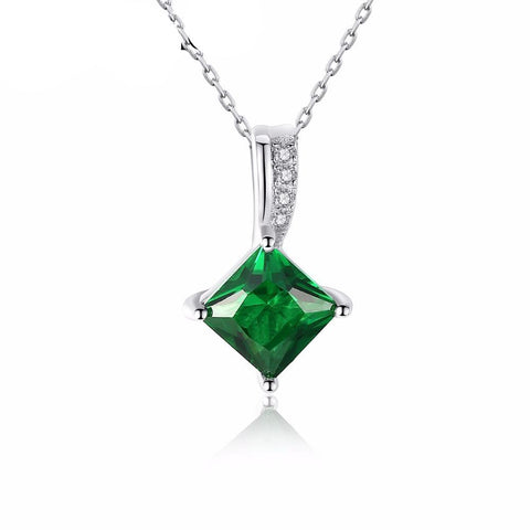 Rhombic Emerald Zircon Elegant Pendant 925 Sterling Silver Necklace