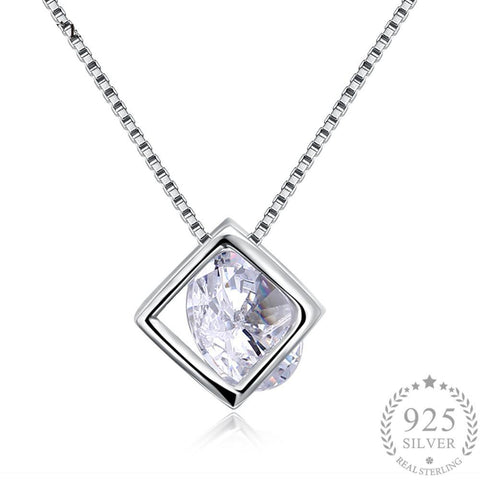Authentic 925 Sterling Silver Square Crystal Pendant Necklace
