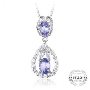 Elegant 2.2ct Natural Tanzanite White Topaz Pendant Necklace