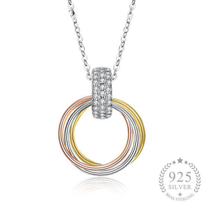 925 Sterling Silver Three Color Round Pendant Necklaces