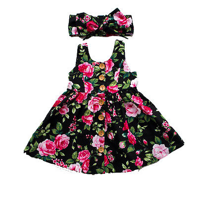 Floral Printed Sleeveless Party Dresses + Headband 0 - 4 Years