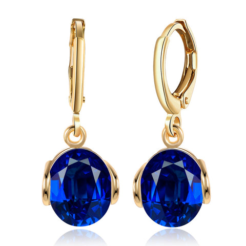 Light Blue Cubic Zirconia Gold Drop Earrings