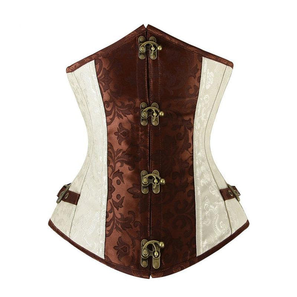 Brown and Lvory Underbust Corset