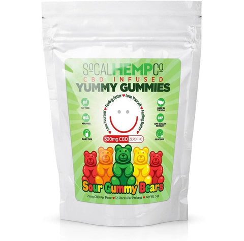 So Cal Hemp Co. CBD Infused Sour Gummy Bears w/ 300mg CBD Per Package