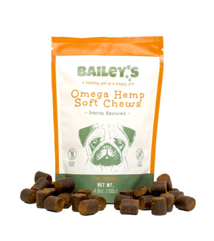 """BAILEYS"" Omega Hemp Soft Chews - Bacon Flavored- 30 Count(90MG CBD)"
