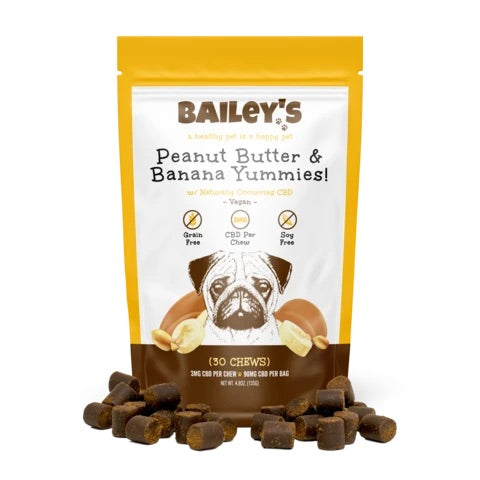 Bailey's Peanut Butter & Banana Yummies! 30 Count Bag w/ 3MG CBD Per Chew