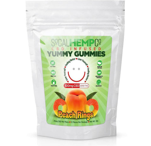 So Cal Hemp Co. CBD Infused Peach Ring Gummies w/ 300mg CBD Per Package  1