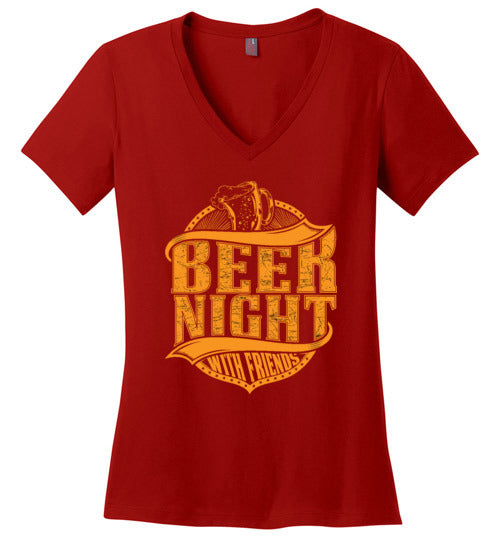 Beer Night with Friends Women's V-Neck Top