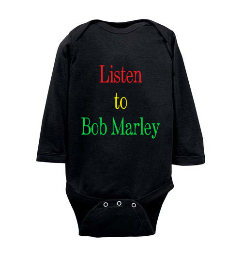 Baby Listen to Bob Marley Long Sleeve Bodysuit