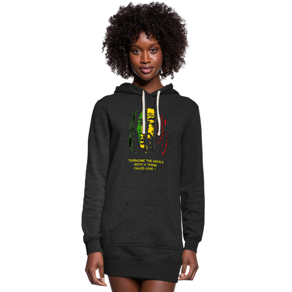 "Women's ""Overcome the Devils"" Hoodie Dress - heather black"