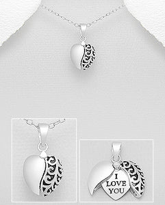I LOVE YOU Hidden Heart 925 Sterling Silver Necklace