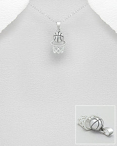 Basketball 925 Sterling Silver Pendant