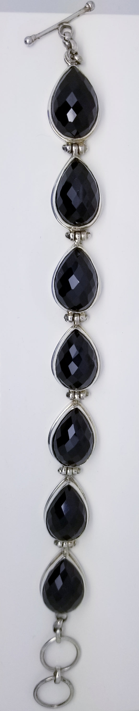 Sterling Silver With 7 Large Faceted Onyx Stone Bracelet