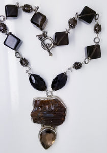 Sterling Silver With Smoky Quartz & Tiger Eye Frog Stone Necklace