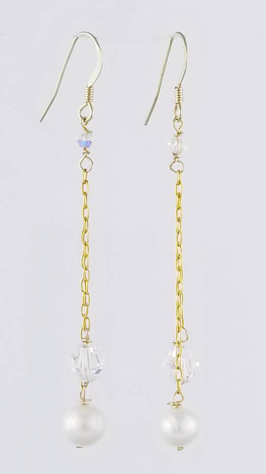 Swarovski Pearls  & Crystal, Freshwater Pearls Earrings