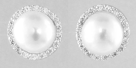 Sterling Silver Freshwater Pearls Earrings W CZ