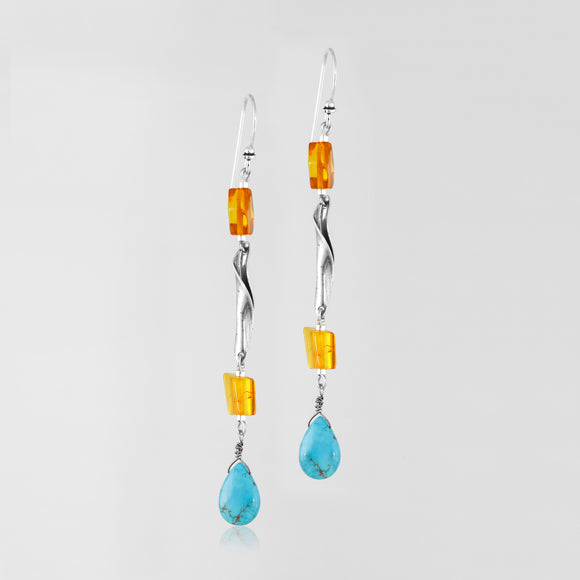 Amber & turquoise sterling silver handcrafted earrings