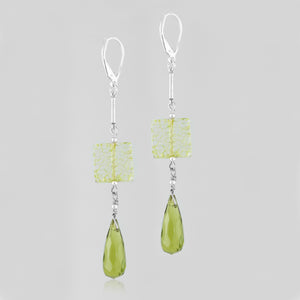 Sterling silver handcrafted earrings & beautiful green lace of the glass