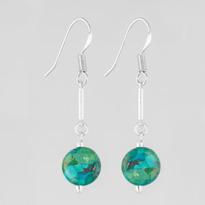 Turquoise teardrops sterling silver handcrafted  earring.