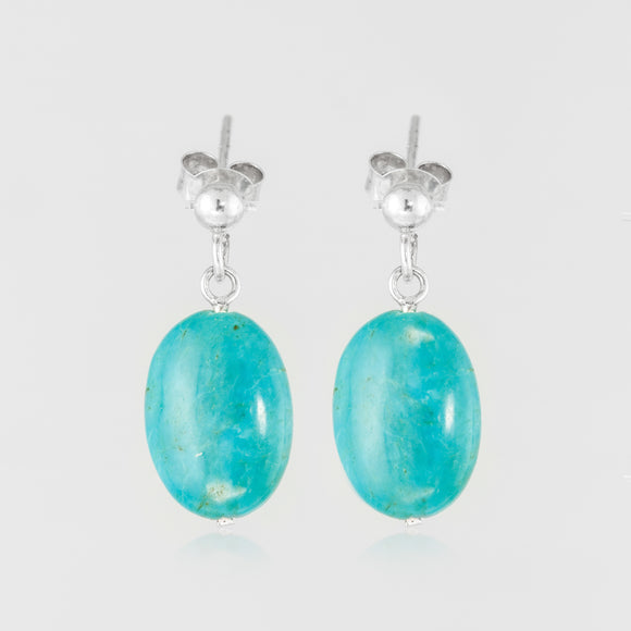 Turquoise teardrops elevate sterling silver handcrafted earring.
