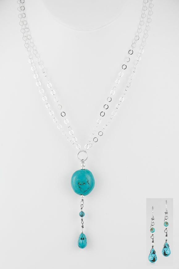 Sterling silver handcrafted Set necklace & Earrings of genuine turquoise.