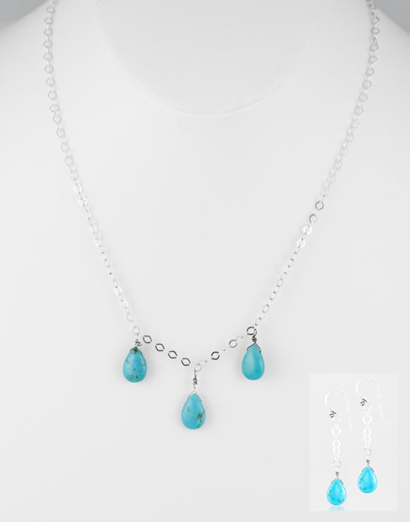 Genuine turquoise handcrafted set earring & necklace with sterling silver.