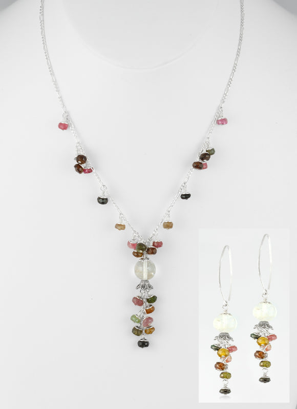 Handcrafted set hang from flowering 925 sterling silver.