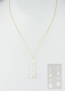 Swarovski crystals cascade from gold plated sterling silver handcrafted set